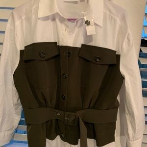 White olive green blouse cute for business attire